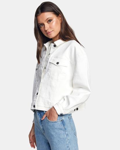 6 Tuesdays Denim Jacket White AVJJK00123 RVCA