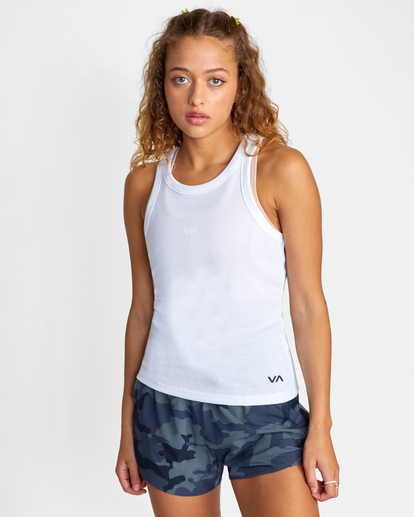 0 Essential Ribbed Workout Tank Top White AVJKT00134 RVCA