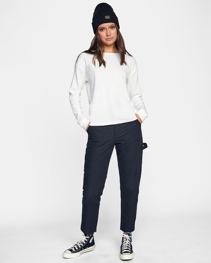 3 Recession Long Sleeve Thermal Top White AVJKT00160 RVCA