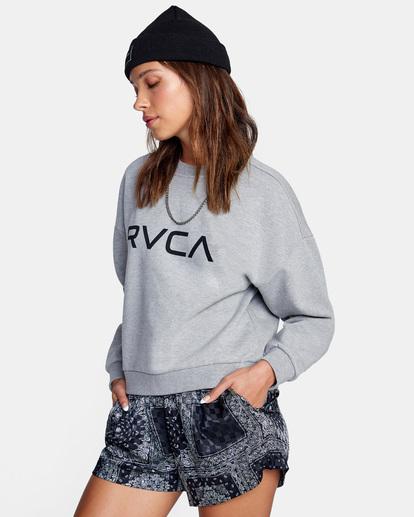 4 Big RVCA Crewneck Sweater Grey AVJSF00157 RVCA