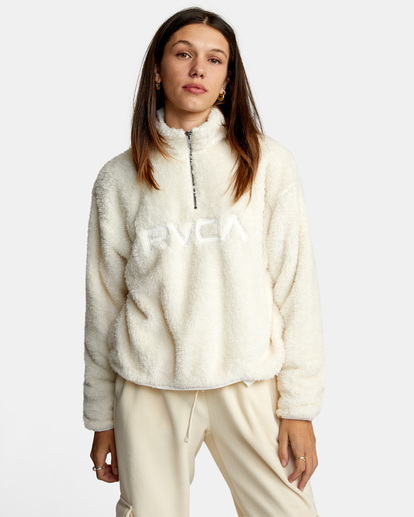 0 Relaxed RVCA Quarter Zip Sweater White AVJSF00178 RVCA