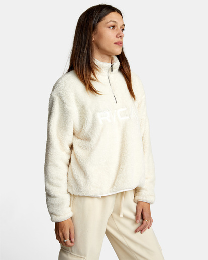 5 Relaxed RVCA Quarter Zip Sweater White AVJSF00178 RVCA