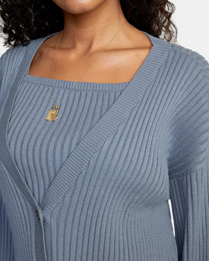 2 Charmed Cardigan Sweater Blue AVJSW00122 RVCA