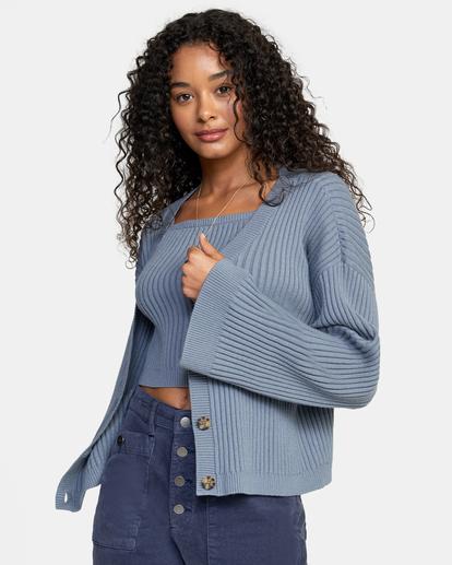 3 Charmed Cardigan Sweater Blue AVJSW00122 RVCA