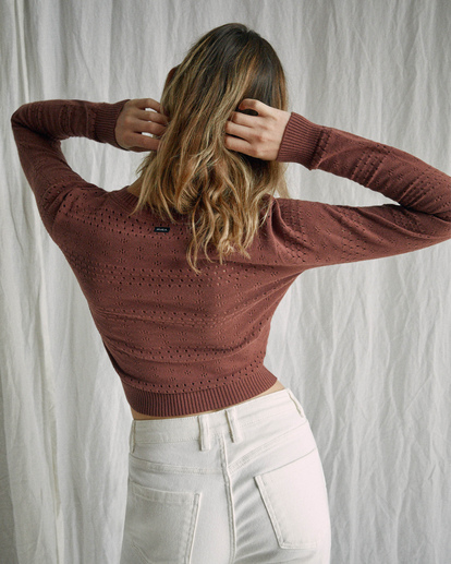 1 Camille Rowe | Paris Pointelle Sweater Brown AVJSW00128 RVCA