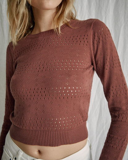2 Camille Rowe | Paris Pointelle Sweater Brown AVJSW00128 RVCA