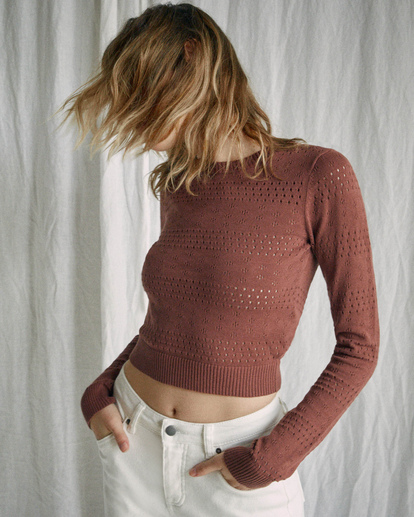 5 Camille Rowe | Paris Pointelle Sweater Brown AVJSW00128 RVCA