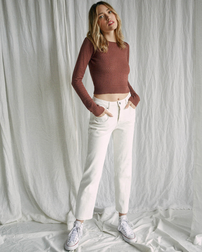 7 Camille Rowe | Paris Pointelle Sweater Brown AVJSW00128 RVCA