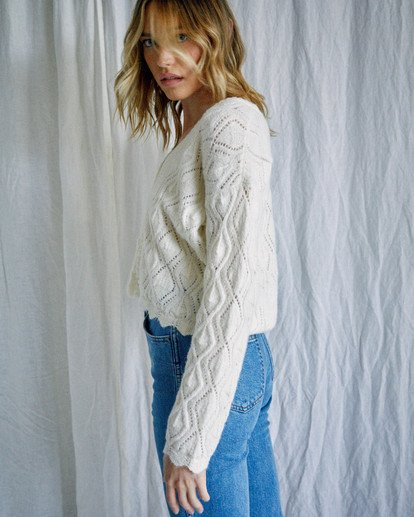 4 Camille Rowe | Cafe Cardigan Sweater White AVJSW00129 RVCA