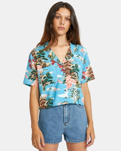 7 Vacay Button-Down Top Brown AVJWT00136 RVCA