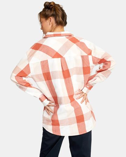 2 Decades Zip-Up Flannel Shirt Brown AVJWT00138 RVCA