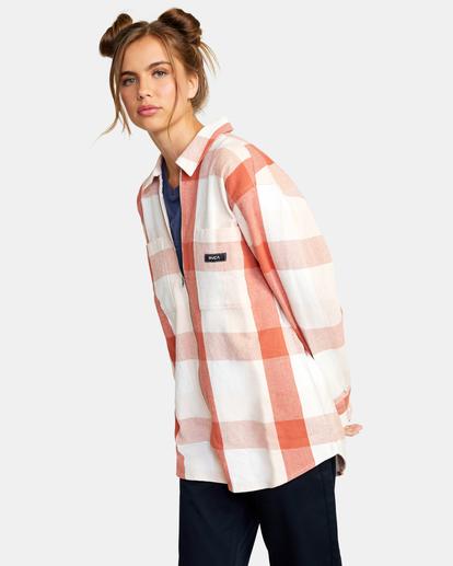 5 Decades Zip-Up Flannel Shirt Brown AVJWT00138 RVCA