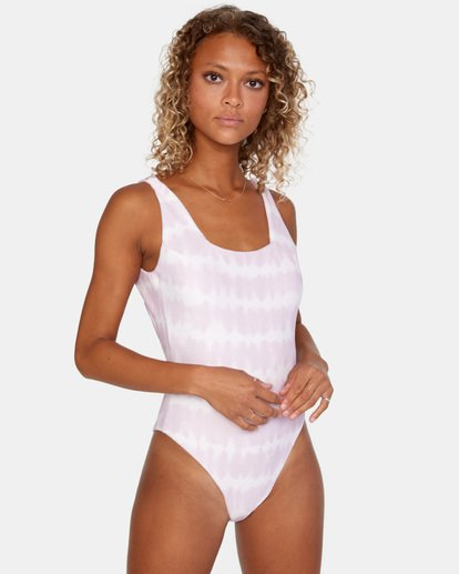 0 Live And Let Dye Printed Cheeky One Piece Swimsuit Purple AVJX100107 RVCA