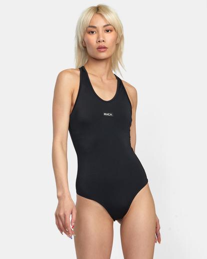 0 VA Essential Solid Medium Coverage Racerback One Piece Swimsuit Black AVJX100108 RVCA