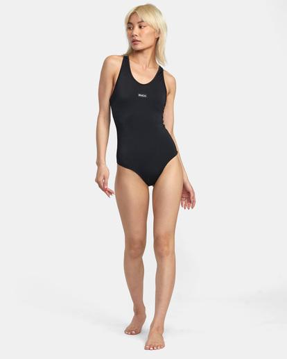 3 VA Essential Solid Medium Coverage Racerback One Piece Swimsuit Black AVJX100108 RVCA