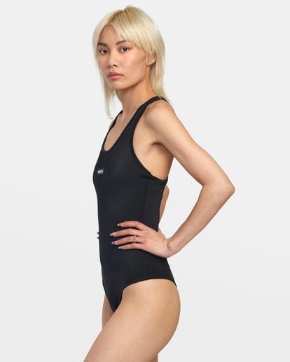 4 VA Essential Solid Medium Coverage Racerback One Piece Swimsuit Black AVJX100108 RVCA
