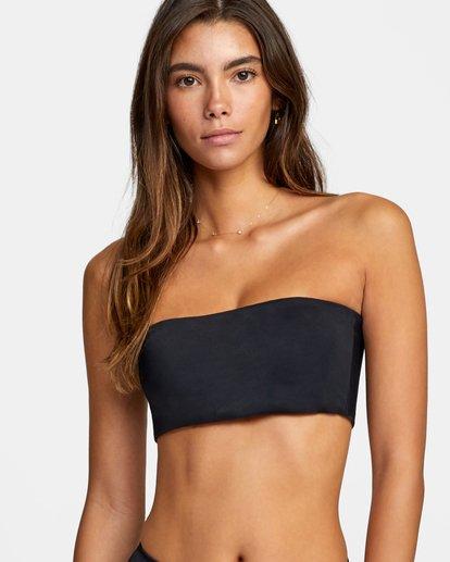 3 Solid Bandeau Removable Strap Bikini Top Black AVJX300127 RVCA