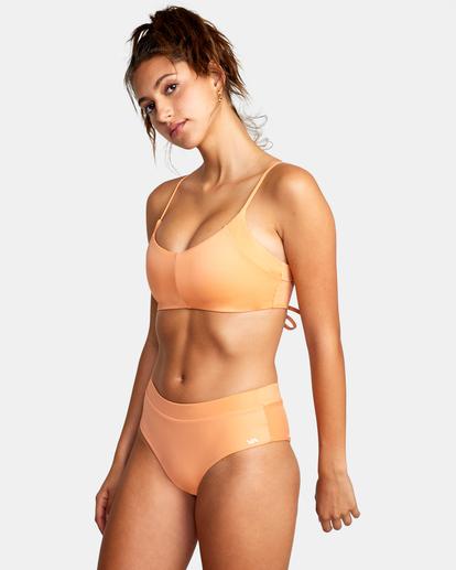 3 Wilder Solid Crossback Tie Bikini Top Orange AVJX300185 RVCA