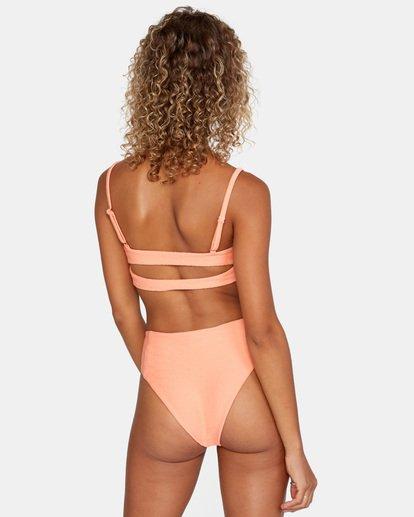 4 La Jolla Textured Bandeau Bralette Removable Strap Bikini Top Orange AVJX300186 RVCA