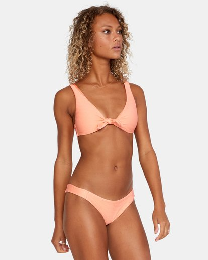 5 La Jolla Textured Tie Front Bikini Top Orange AVJX300187 RVCA