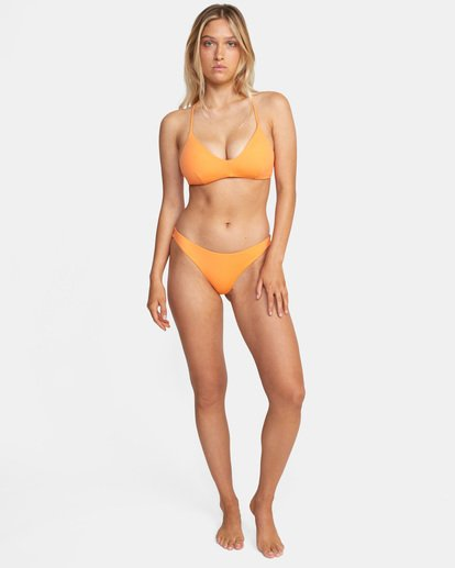 2 Solid Crossback Tie D-Cup Bikini Top Orange AVJX300198 RVCA