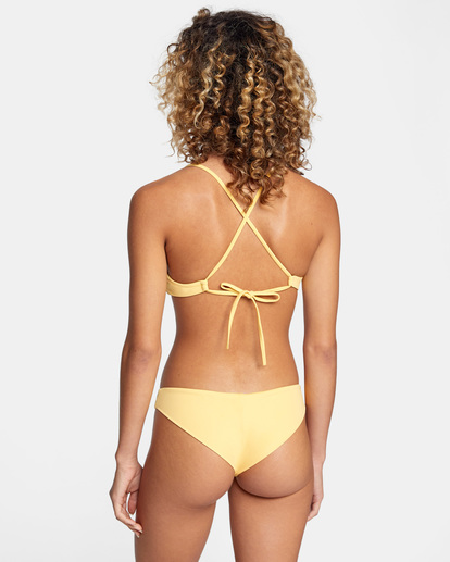 1 Solid Crossback Tie Bikini Top White AVJX300199 RVCA