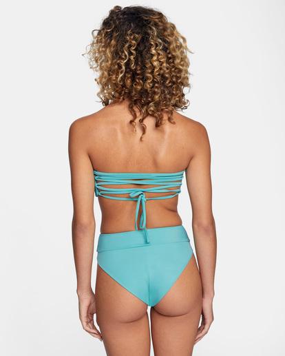 1 Solid Tie-Back Halter Bandeau Bikini Top Green AVJX300208 RVCA