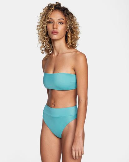 7 Solid Tie-Back Halter Bandeau Bikini Top Green AVJX300208 RVCA