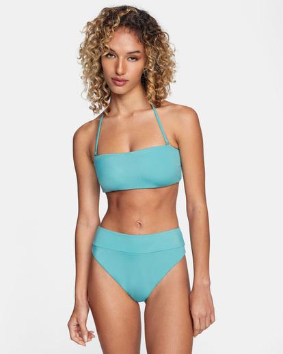 0 Solid Tie-Back Halter Bandeau Bikini Top Green AVJX300208 RVCA