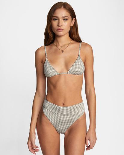 0 Jet Set Printed Tie-Back Triangle Bikini Top White AVJX300219 RVCA