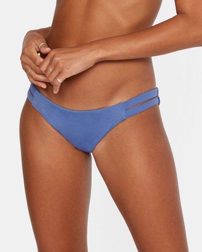 4 Solid Low-Rise Full Coverage Bikini Bottom Blue AVJX400118 RVCA