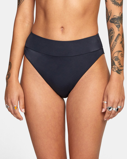 2 Solid High-Rise Cheeky Bikini Bottom Black AVJX400121 RVCA