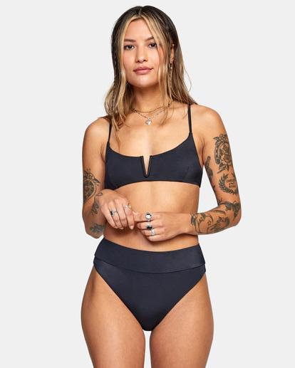 1 Solid High-Rise Cheeky Bikini Bottom Black AVJX400121 RVCA