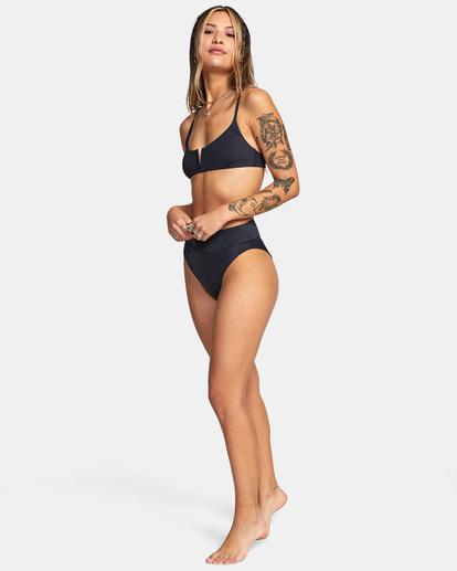 3 Solid High-Rise Cheeky Bikini Bottom Black AVJX400121 RVCA
