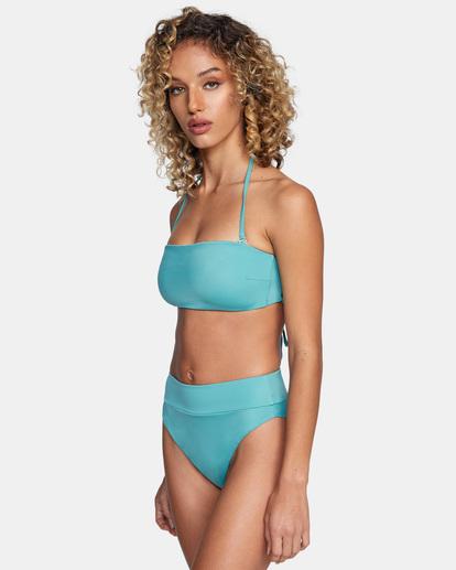 3 Solid High-Rise Cheeky Bikini Bottom Green AVJX400121 RVCA