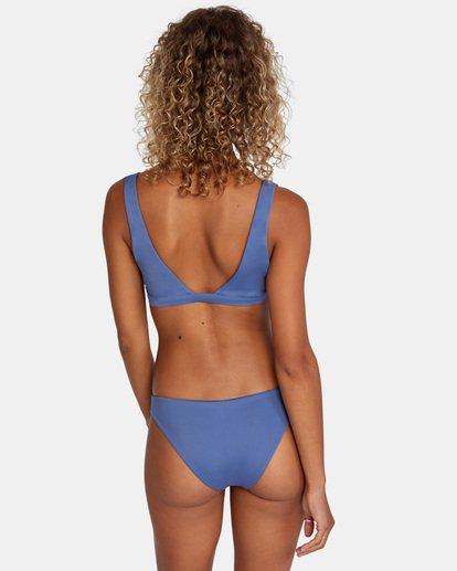 1 Solid Low-Rise Medium Coverage Bikini Bottom Blue AVJX400130 RVCA