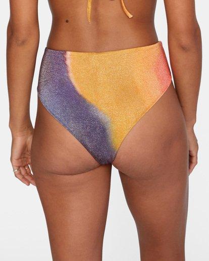 6 Trippy Dana Printed High-Rise Cheeky Bikini Bottom Grey AVJX400188 RVCA