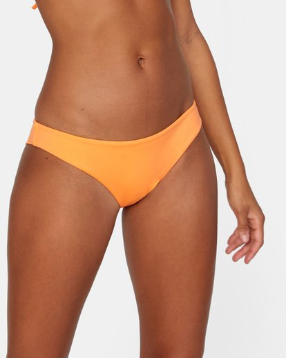 4 Solid Low-Rise Cheeky Bikini Bottom Orange AVJX400189 RVCA
