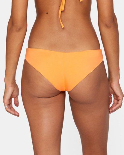 5 Solid Low-Rise Cheeky Bikini Bottom Orange AVJX400189 RVCA