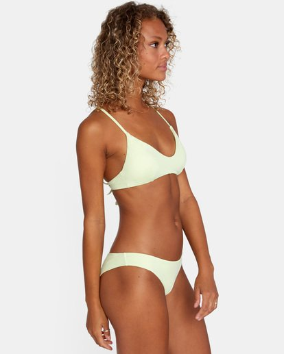 3 Solid Low-Rise Cheeky Bikini Bottom Green AVJX400189 RVCA