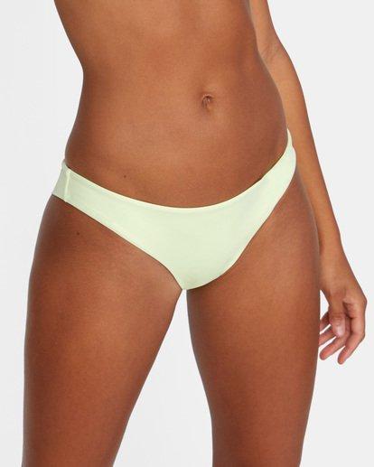 4 Solid Low-Rise Cheeky Bikini Bottom Green AVJX400189 RVCA