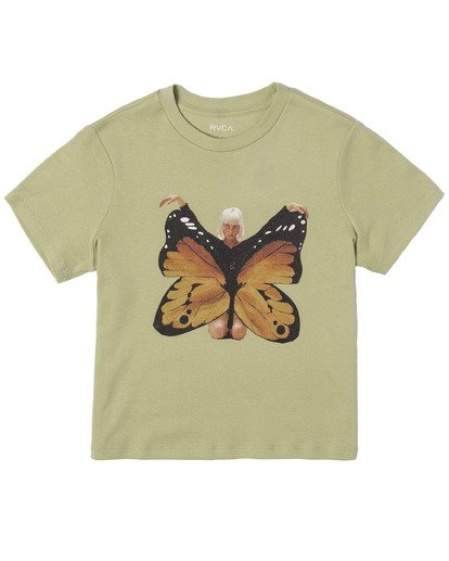 9 Dana Trippe Dana Butterfly Short Sleeve Tee Green AVJZT00258 RVCA