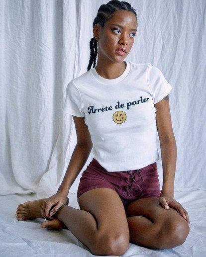5 Camille Rowe | Arrete De Parler T-Shirt White AVJZT00344 RVCA