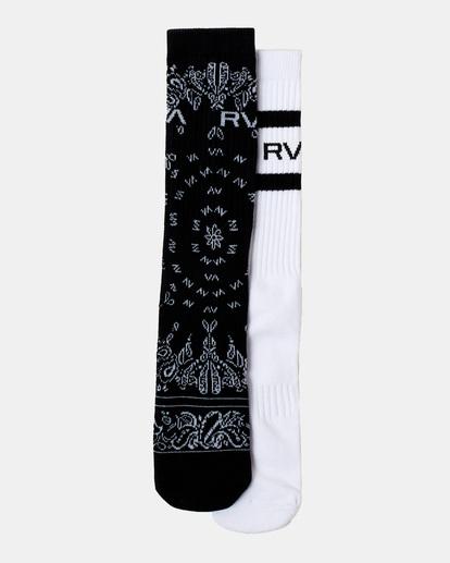 1 2 Pack Bandana Crew Socks Black AVYAA00184 RVCA