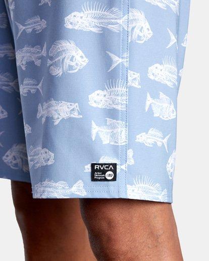 """3 Ben Horton   Fish Boardshorts 19"""" Blue AVYBS00157 RVCA"""