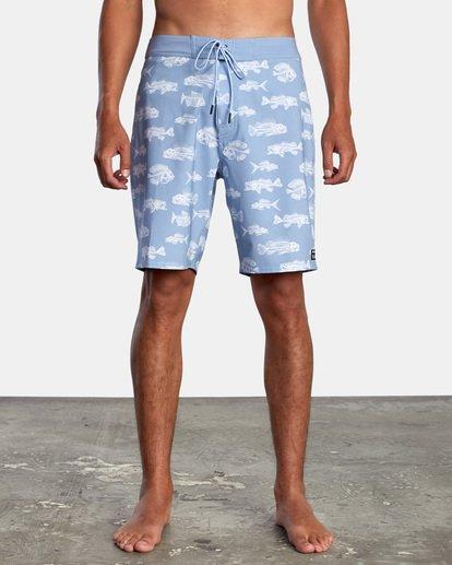 """1 Ben Horton   Fish Boardshorts 19"""" Blue AVYBS00157 RVCA"""