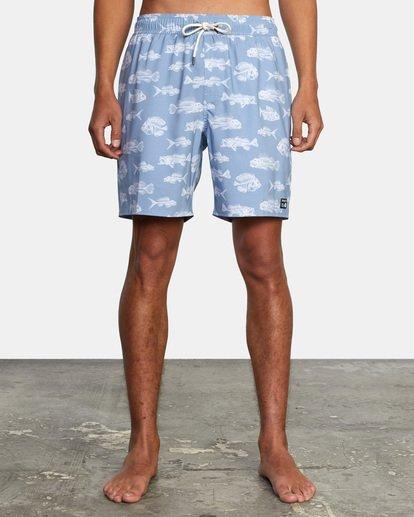 "1 Ben Horton | Fish Elastic Boardshorts 17"" Blue AVYBS00158 RVCA"