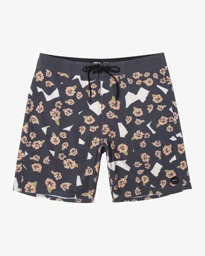 "0 Pop Flower Boardshorts 17"" Black AVYBS00181 RVCA"