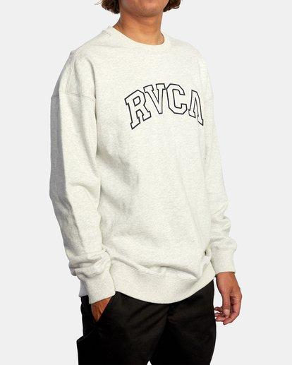 5 Hastings Emblem Crewneck Sweatshirt White AVYFT00160 RVCA