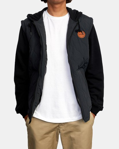 1 Grant Hooded Puffer Jacket Black AVYFT00205 RVCA